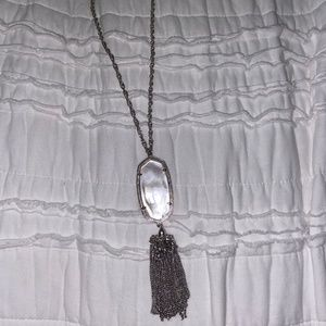 Gold NWT Kendra Scott Rayne Long Pendant Necklace in Ivory Pearl